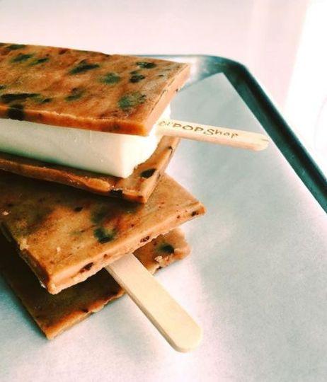 Cookie dough sandwich pops