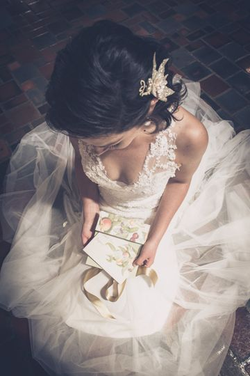 Bride and invitation
