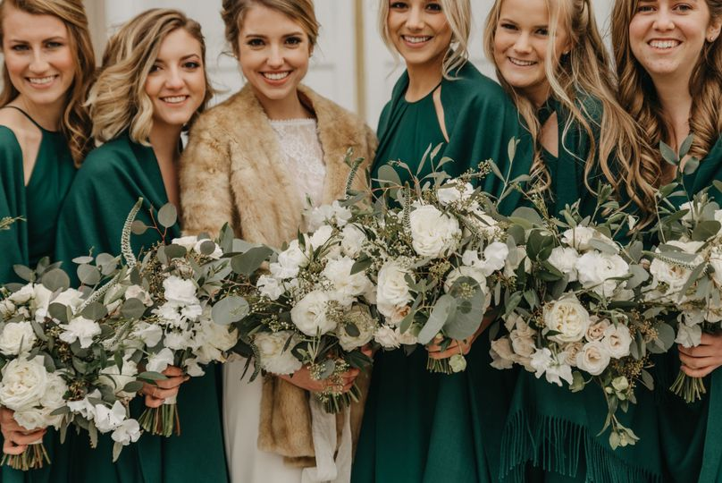 Greenery and white bouquets