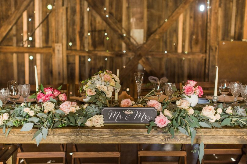 Bride and groom sweetheart table.