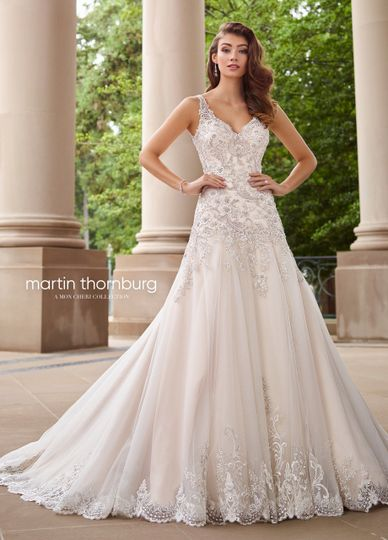 118260 minueta wedding gown fit for royalty, minuet is a sleeveless beaded lace appliqué on tulle...