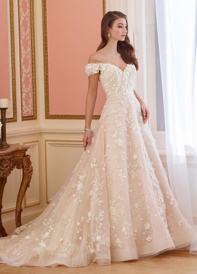 217230 elnoraoff-the-shoulder lace and tulle wedding dress. Sequin tulle over organza and taffeta...