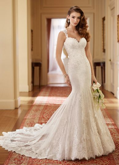 217221 helenqueen anne neckline lace wedding dress. Sleeveless allover alencon lace and satin fit...