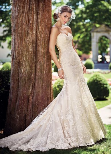 117272 gregoriastrapless schiffli lace on tulle over satin fit and flare gown with scalloped...
