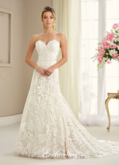 217118strapless tulle, lace appliqué, and satin slim a-line gown with scalloped sweetheart neckline,...