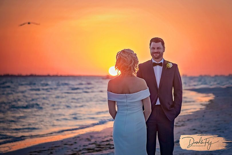 Bride & Groom Sunset, Diamondhead Beach Resort, Fort Myers Beach, Florida by Doodle Fly Photography...