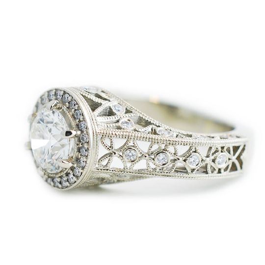 14k white gold diamond custom engagement ring - The Sherri.