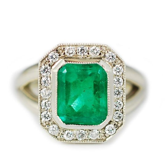 Emerald and diamond unique custom ring - The Erika
