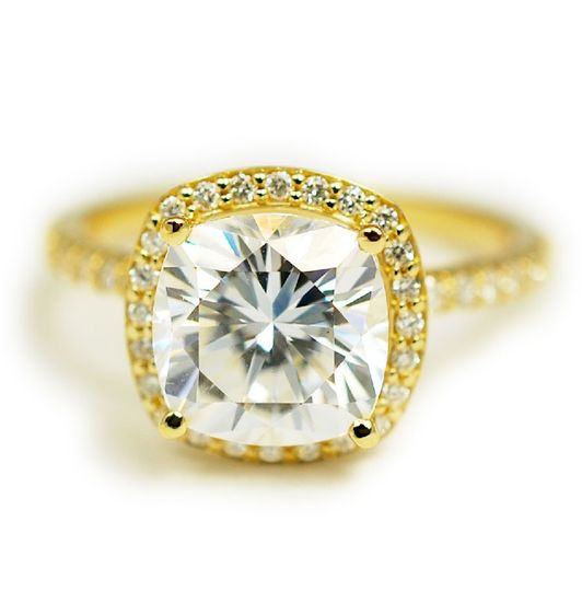 Yellow gold, antique cut moissanite, diamond halo and melee handmade engagement ring - The Laura