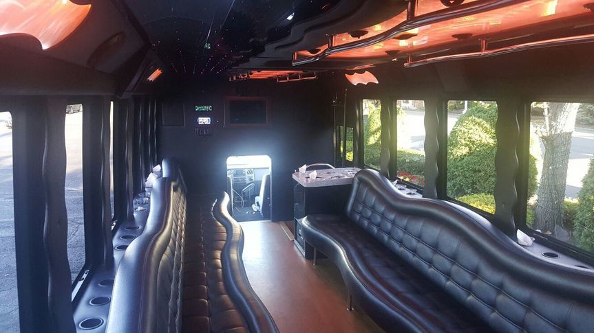 28 passengers party bus interior