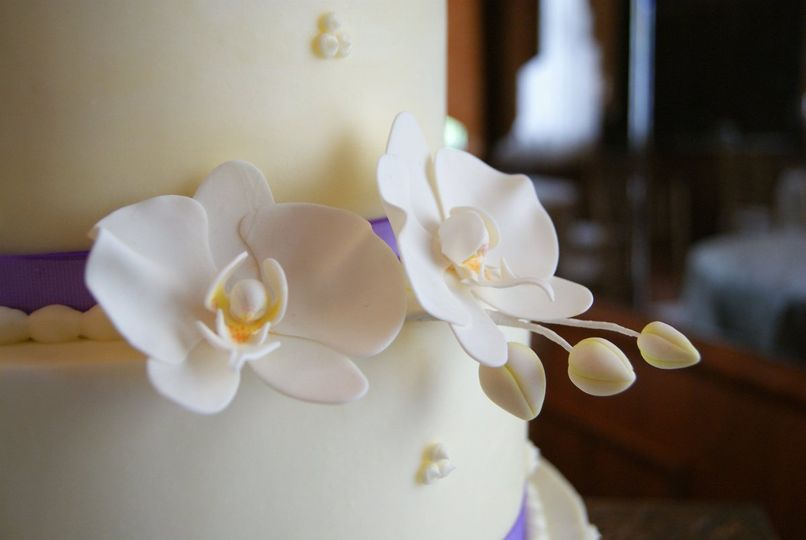 Close up of gum paste orchids
