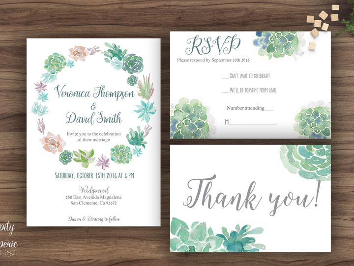 Tmx 1459968909716 Succulent Invitation Set2  North Wales wedding invitation