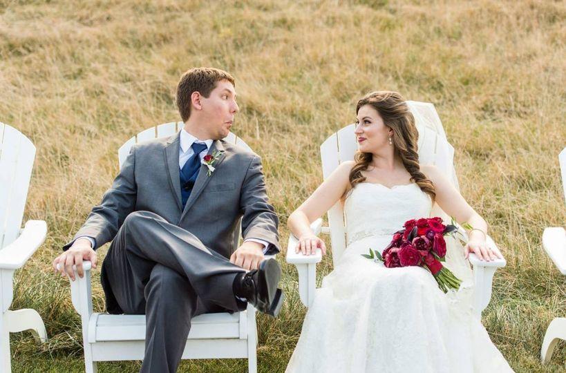 Newlyweds sitting