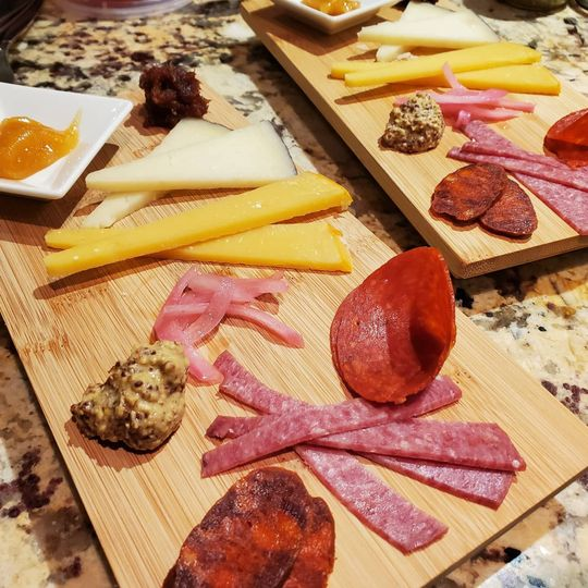 Plated charcuterie and cheese