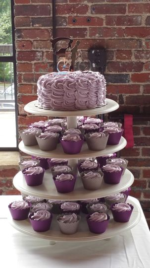 Cupcake Towers with matching wraps on Cupcakes