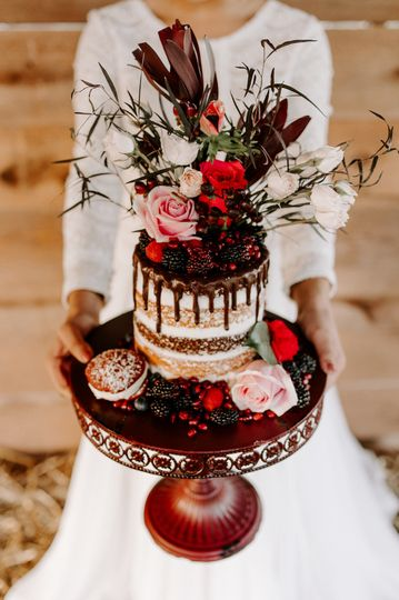 Mocha layered naked cake, flowers by Bloomwoods, Columbus GA
