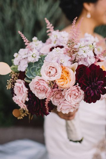 Pink and maroon flowers