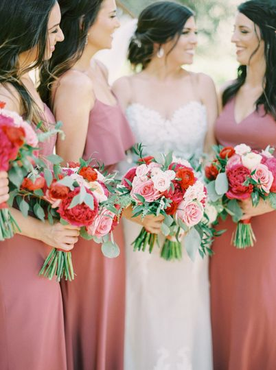 Jewel tones for the bridesmaids