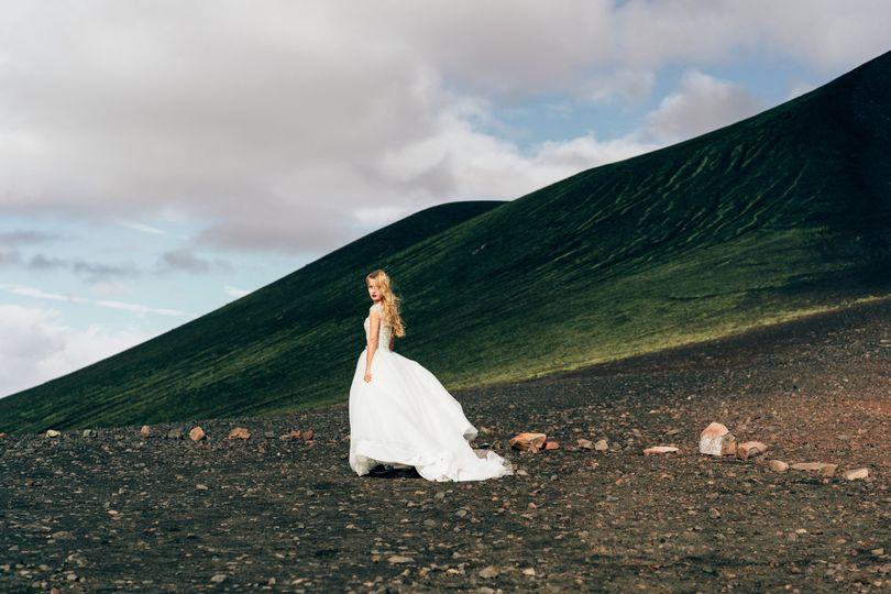 Bride in European countryside