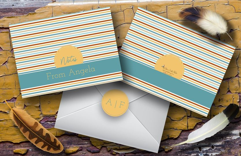 Personalized note cards bright stripes