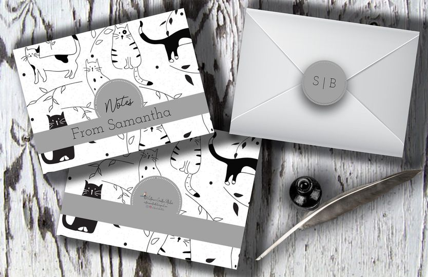 Personalized note cards cat design