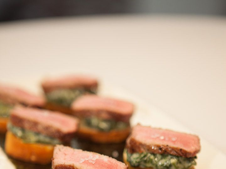 Tmx 1366657156152 Sliced Strip Steak Black Truffle Creamed Spinach On A Crostini Livingston, NJ wedding venue