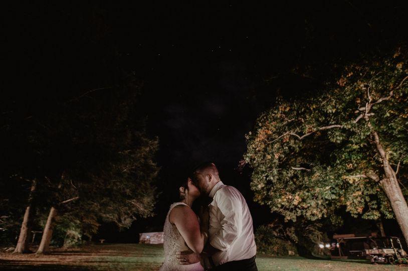 Evening kiss under the stars