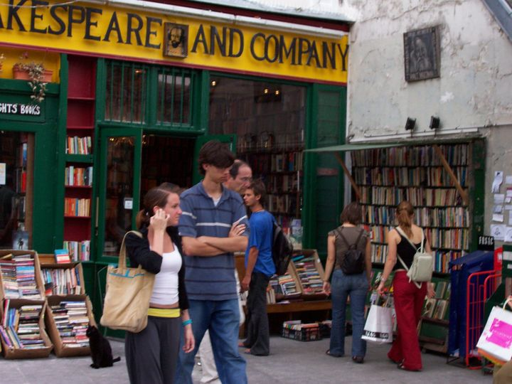 Couple in Paris at Shakespeare And Company...a very popular spot.