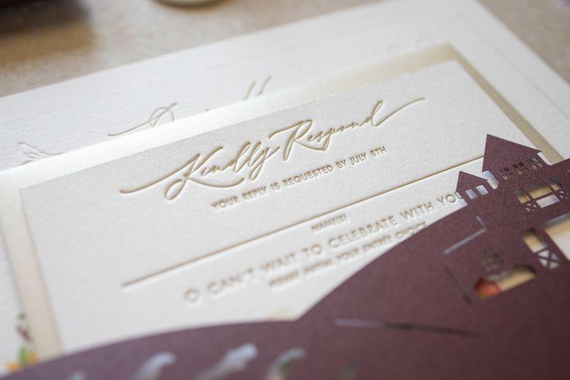 Champagne gold letterpress