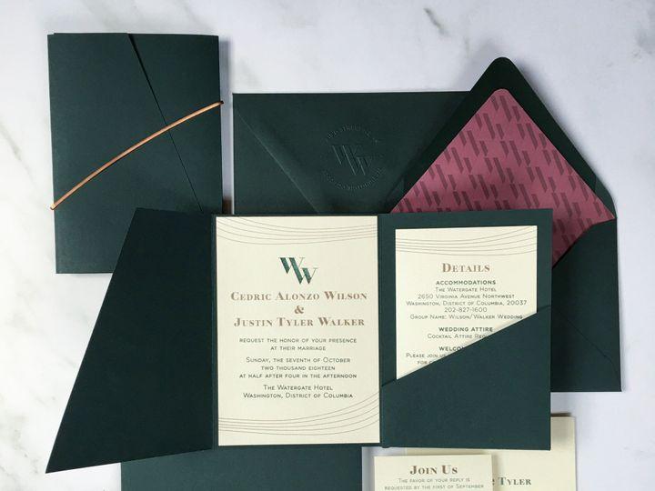 Tmx Typea Ct Greenpurplecopper Weddinginvitations Custom Monogram Letterpress Watergate Dcweddings 51 761987 1571070424 Washington, DC wedding invitation