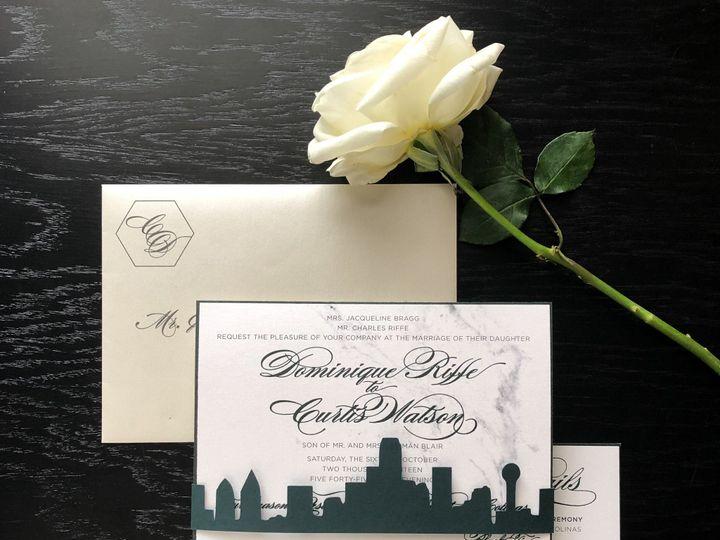 Tmx Typea Greenthermography Marble Custominvitation Moderntexasweddinginvitation Skyline 51 761987 1571075853 Washington, DC wedding invitation