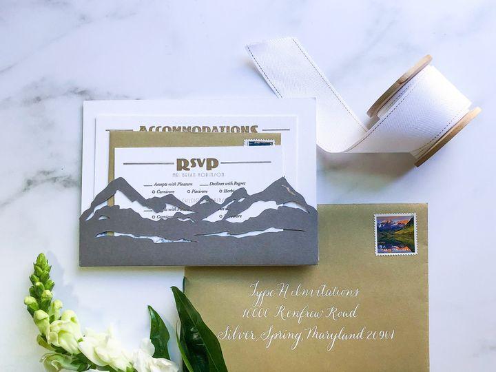Tmx Typea Nationalparkwedding Lasercut Mountainpocketbacking Goldshimmerenvelopes Rsvpcard Letterpress 51 761987 1571070963 Washington, DC wedding invitation