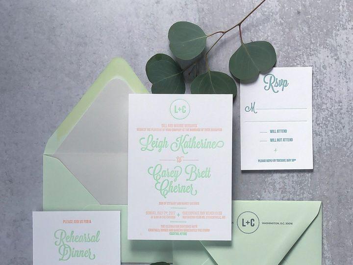 Tmx Typea Pastelgreenandorangeweddinginvitationsuite2 51 761987 1571073391 Washington, DC wedding invitation