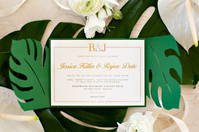 Tropical-themed invite