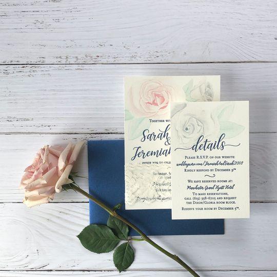 Delicate rose letterpress