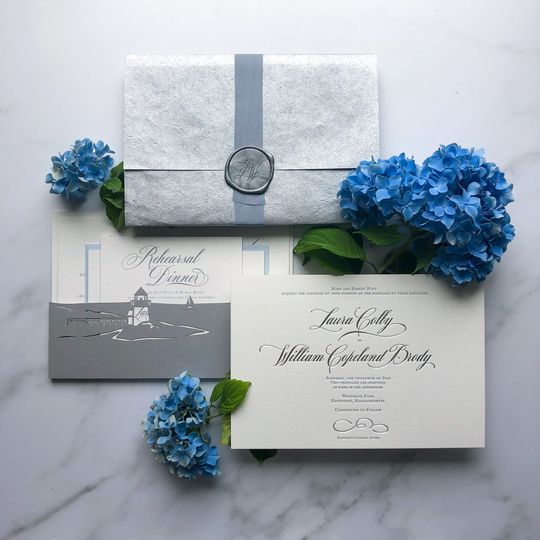 Silver and blue stationery