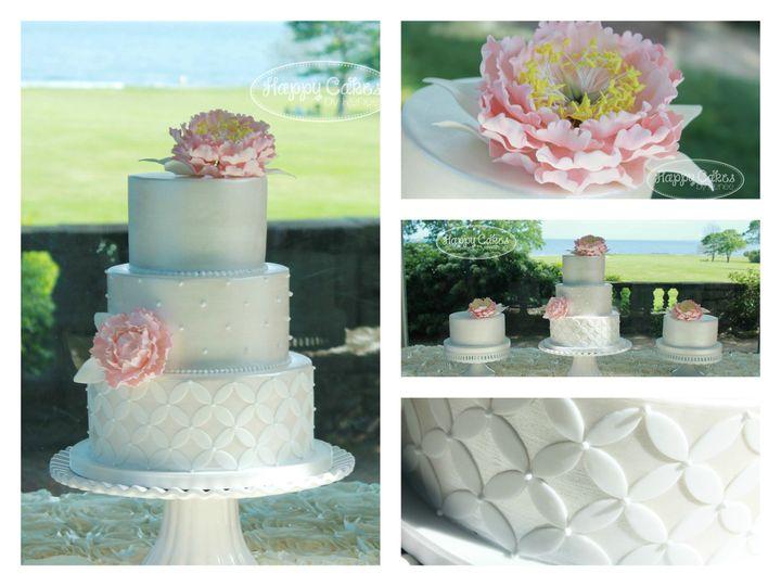Tmx 1386021747305 White Satin Pink Peony Cake Collag Derry wedding cake