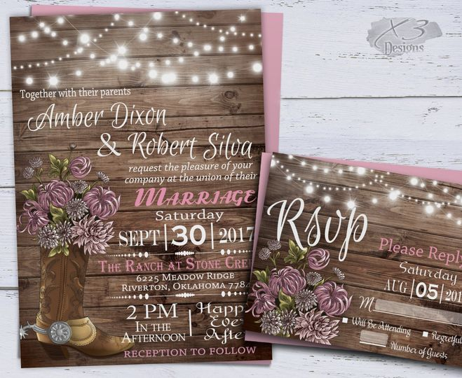 This rustic wedding invitation set features a cowboy boot filled with beautiful flowers including...