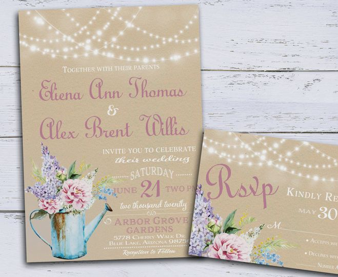 This printable wedding invitation set features a vintage water pitcher filled with peonies, lilacs,...