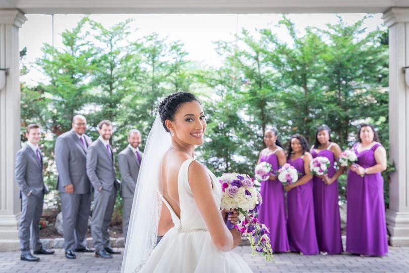 Bride look back w/ party