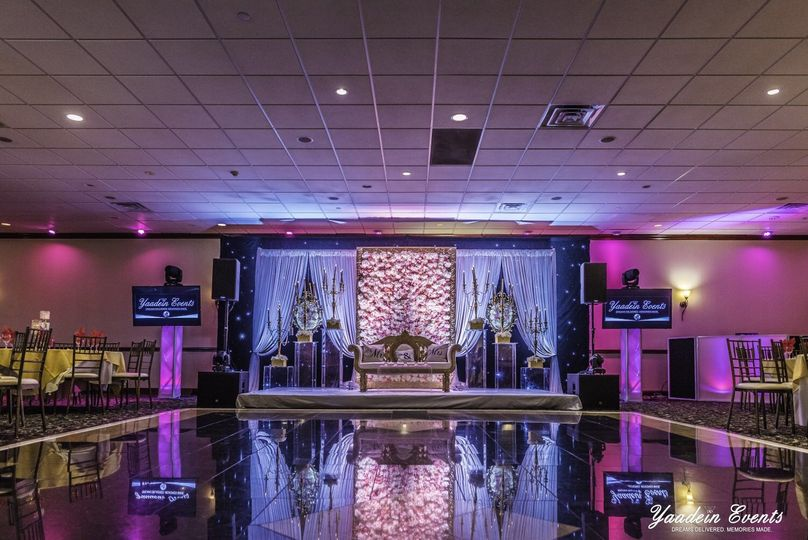 Reception hall decor and lighting