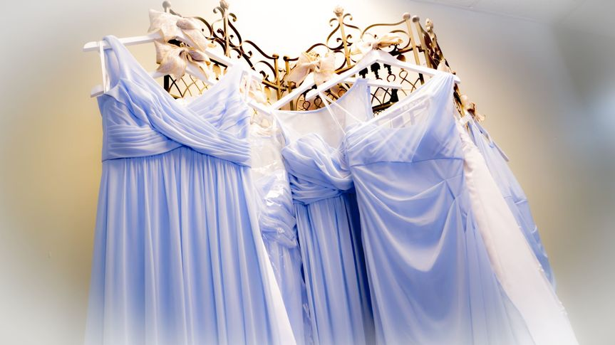 The wedding party's gowns