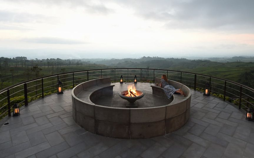 Fire pit on the patio