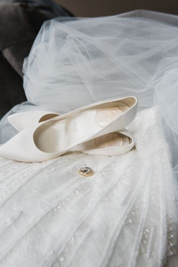 Bridal shoes and dress