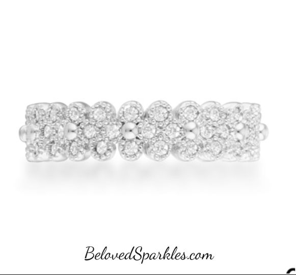clara 1ct carat silver rhodium plated textured b
