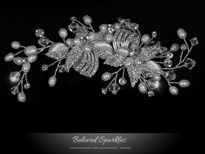Tmx 1417455281660 Bridal Swarovski Crystal Pearl Hair Comb Floral Pi Sierra Madre, CA wedding jewelry