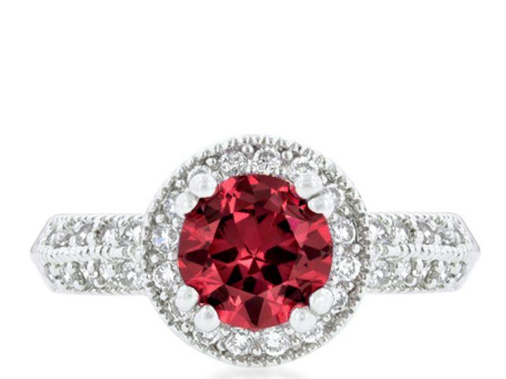 Tmx 1499962904929 3 Orene Ruby Red Round Cut Halo 2ct 4ct 2 4 Carat  Sierra Madre, CA wedding jewelry