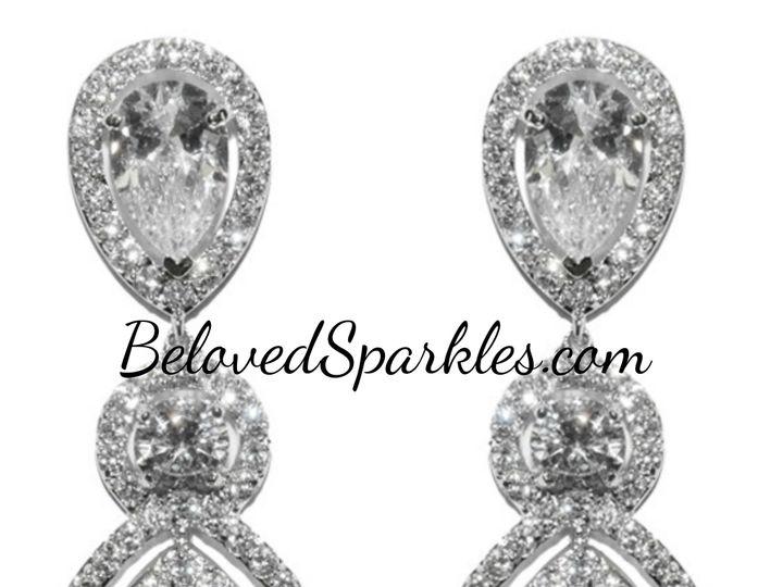 Tmx 1499963293547 1 Louisa Clear Pear Double Halo Dangle Chandelier  Sierra Madre, CA wedding jewelry