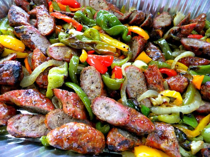 Pork barbecue with bell pepper