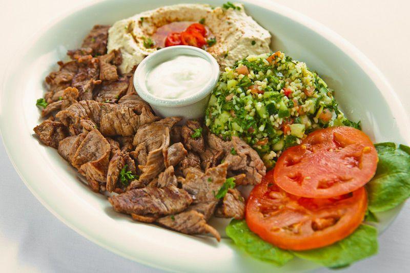 Beef Shawerma Plate with Garlic Sauce, Tabouleh & Hummus